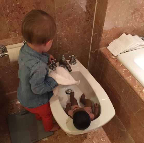 "That's one way to use a bidet! Kelly Clarkson showed her two-year-old daughter River Rose playing in a hotel bathroom. The singer captioned the photo: ""River thinks it's a baby bath tub.""