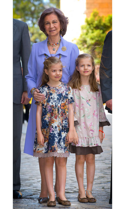 Spain's Princesses joined their grandmother Queen Sofia in fun spring dresses for Easter celebrations in 2014.