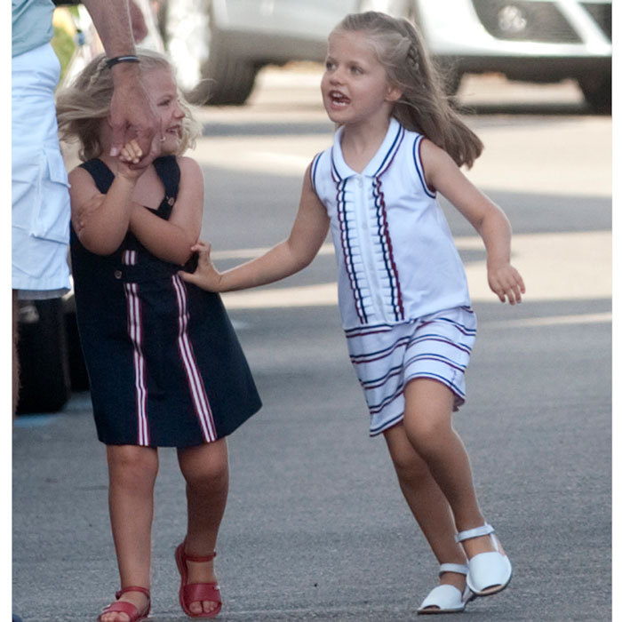 Sofia and Leonor horsed around during a 2010 family outing in Palma, Mallorca.  