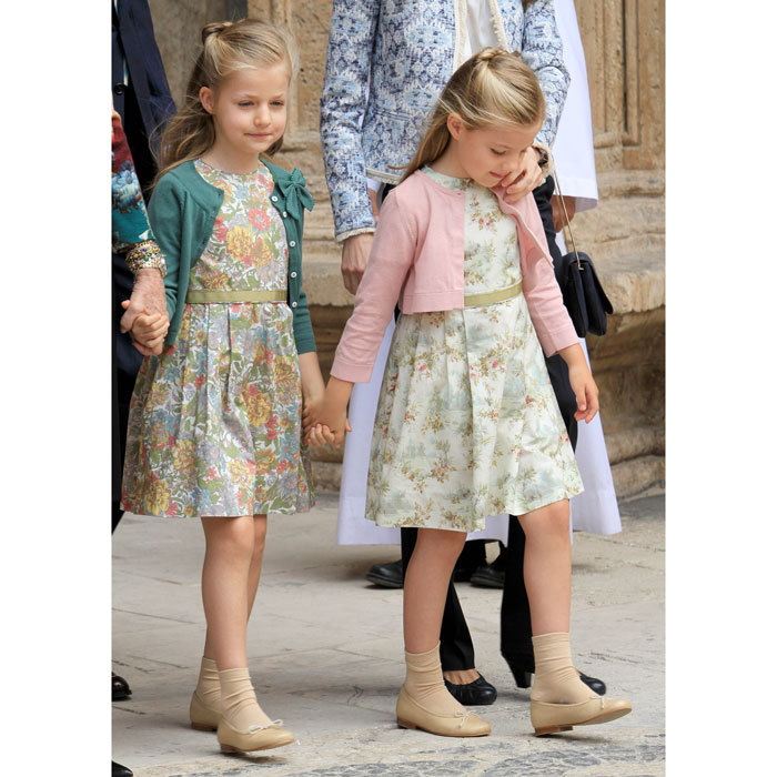 The royal siblings strolled hand-in-hand into Easter 2013 services looking dainty in their floral printed dresses and cardigans.