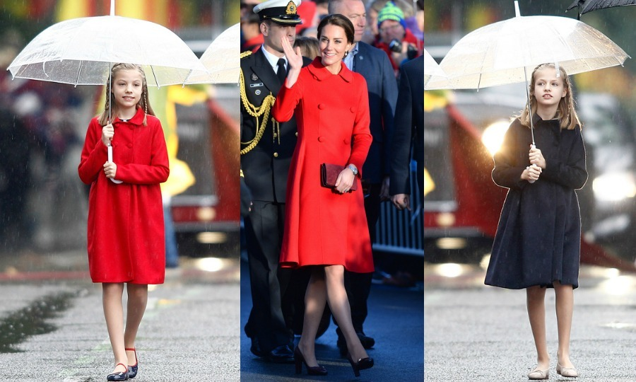 Spain's <b>Princess Leonor</b> and <b>Infanta Sofia</b> stepped out for their country's National Day celebration on October 12, 2016 sporting Carolina Herrera coats very similar to the one worn by the Duchess of Cambridge during her 2016 royal tour of Canada. Like Kate, Sofia opted for a scarlet coat by the designer, while her older sister Leonor wore a darker shade.