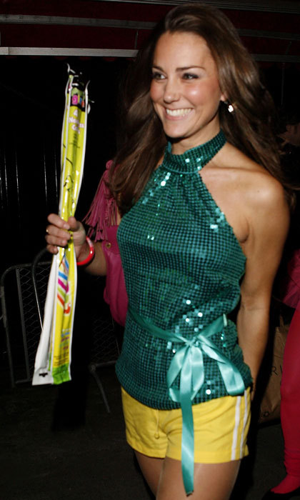 Kate Middleton looked groovy stepping out in a disco-inspired ensemble for a 2008 Day-Glo Midnight Roller Disco event in London. 