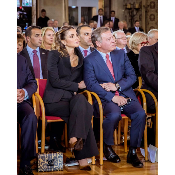 "Queen Rania of Jordan shared a tender moment with husband King Abdullah II, holding his hand during the official ceremony of 'Peace of Westphalia Prize' in Germany. The King was awarded with the Peace of Westphalia Prize for his ""peace-making efforts and role in promoting global security and stability.""