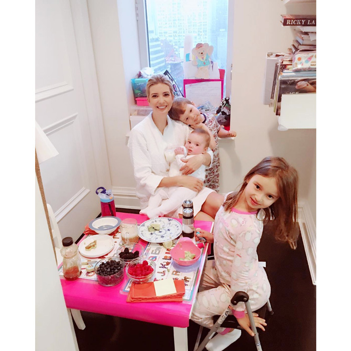 "Ivanka enjoyed a family breakfast with her three kids. The doting mom posted a photo of her morning spread, which was made by her daughter, writing, ""Delicious breakfast courtesy of Arabella!""