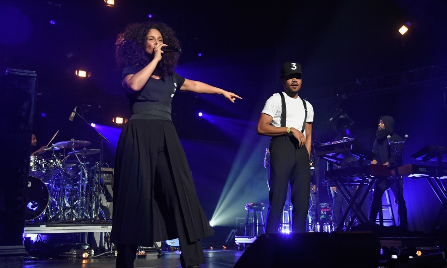 "October 18: <a href=""http://us.hellomagazine.com/tags/1/alicia-keys/""><strong>Alicia Keys</strong></a> took the stage with Chance the Rapper during the Keep a Child Alive Black Ball in NYC. 