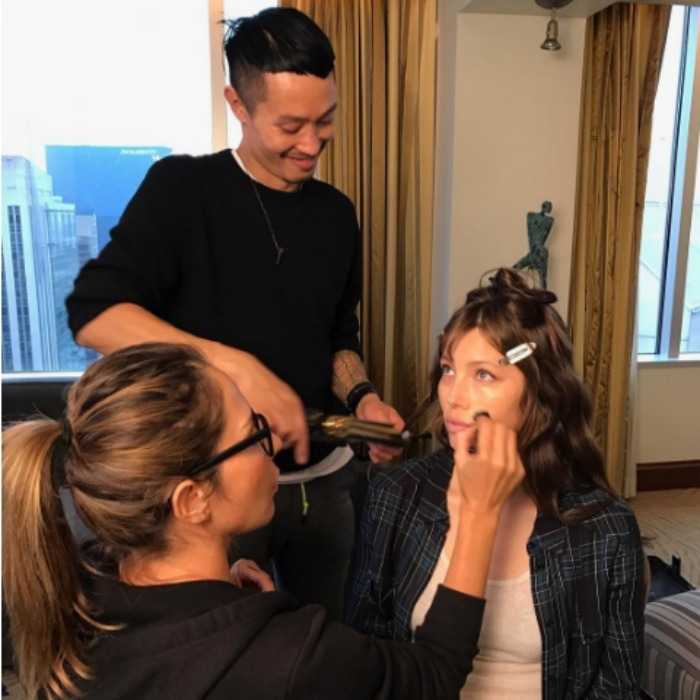 October 20: It's glam time! Jessica Biel's makeup artist Fabiola Arancibia used EX1 Cosmetics to complete her look ahead of the <i>The Book Of Love</i> premiere during the Heartland Film Festival in Indianapolis.