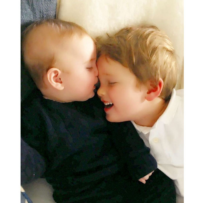 Brothers Theodore and Joseph enjoyed a Sunday morning cuddling session in October 2016.
