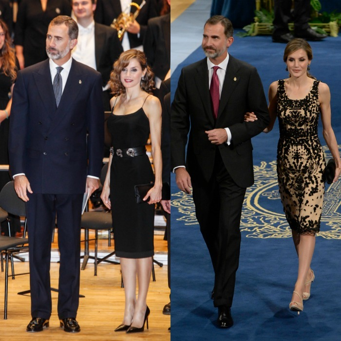 The Spanish monarchs, King Felipe VI and Queen Letizia, stepped out in the province of Asturias, northern Spain to attend the Princess of Asturias Awards Concert on October 20 (left) followed by the awards ceremony (right) the next day.