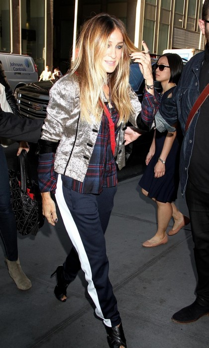 October 18: Sarah Jessica Parker paired a Michael Stars woven plaid shirt with track pants and heels for a visit to SiriusXM Studios in NYC.