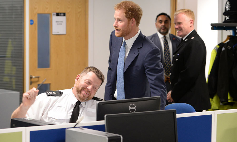 The cheeky royal shared a joke with Inspector Paul Gummer  at the opening of Nottingham's new Nottingham Police and Nottingham Council station. The joint station enables citizens to have access to a wide range of police and council services in one place.