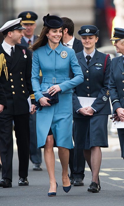 The Duchess of Cambridge, in her first official engagement as Honorary Air Commandant, attended the 75th anniversary of the RAF Air Cadets at St Clement Danes in London donning a military-inspired couture Alexander McQueen coat.