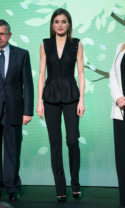 Queen Letizia was the woman in black! The mom-of-two paired her Hugo Black black trousers with a sleeveless, peplum vest top by Felipe Varela for the El Barco de Vapor and Juvenil Gran Angular Awards  held in April 2016 at Madrid's Royal Post Office.