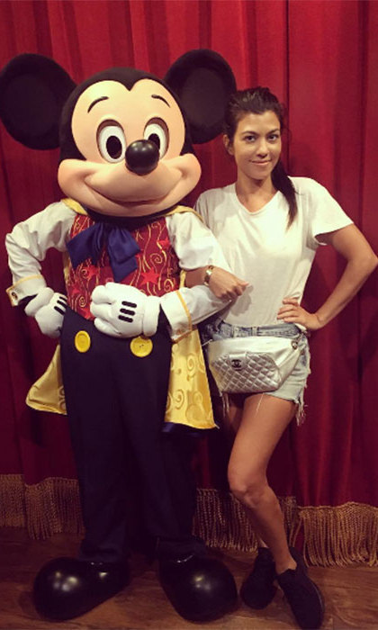 Kourtney Kardashian effortlessly coordinated her Mickey Mouse bag with the main man himself, proving that Disney and fashion go hand in hand.