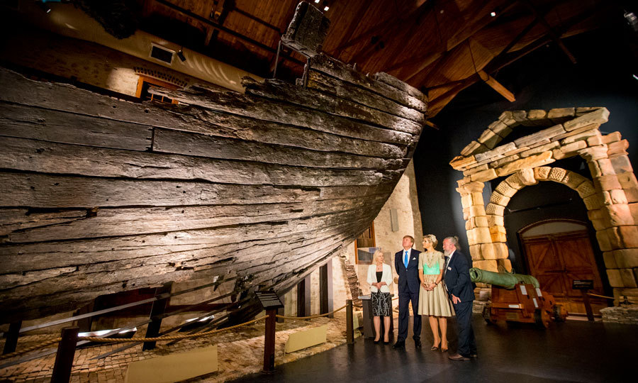 "Queen Maxima and her husband toured the Western Australian Maritime Museum, where they opened the exhibition ""Travellers and Trader.""