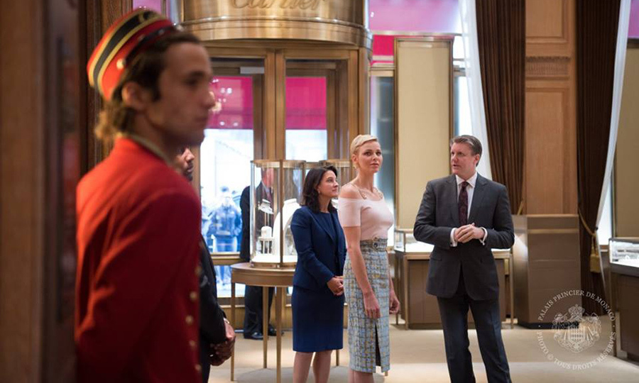 During her stay in New York City, Princess Charlene of Monaco paid a visit to the Cartier store on Fifth Avenue as part of her work with the Princess Grace Foundation.