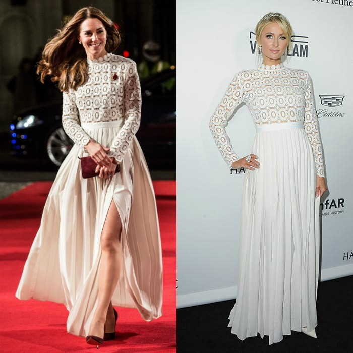 Kate Middleton wowed in an elegant white crepe gown by Self-Portrait at movie premiere in London on November 3. The Duchess of Cambridge's stylish outing comes a week after heiress Paris Hilton stepped out in Los Angeles wearing the same Victorian-inspired, pleated maxi dress to amfAR's Inspiration Gala. Unlike Kate who wore her glossy locks down in loose waves, Nicky Hilton's sister opted for an updo to show off the crochet collar.