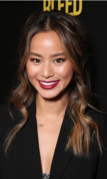 <b>Jamie Chung</B> sported the season's red lip to perfection at the premiere of <I>Bleed For This</I> at the Samuel Goldwyn Theater in Beverly Hills, California. 