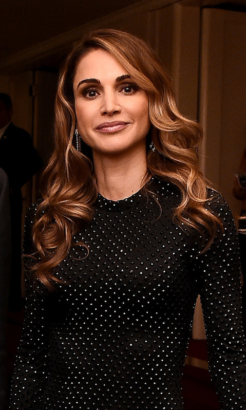 With honey-hued highlights, <b>Queen Rania of Jordan</B> wore her hair in soft waves the International Rescue Committee 2016 Rescue Dinner at the Waldorf Astoria Hotel New York City. 