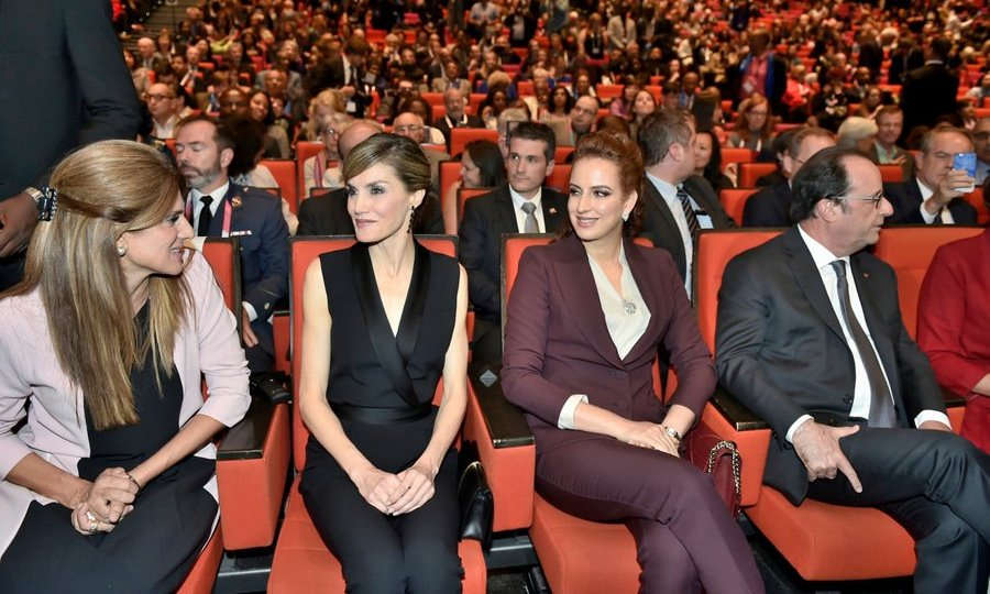 Queen Letizia of Spain, center left, and Princess Lalla Salma of Morocco, center right, joined French president Francois Hollande, far right, for the opening ceremony of the 24th World Cancer Congress hosted by the Union for International Cancer Control (UICC) in Paris. 