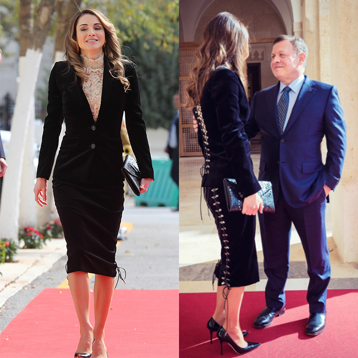 Queen Rania of Jordan's conservative ensemble for the State opening of Parliament in Amman had a bit of a surprise when seen from the back! The lace-up Antonio Berardi deep blue velvet outfit is from the designer's Fall 2016 collection.