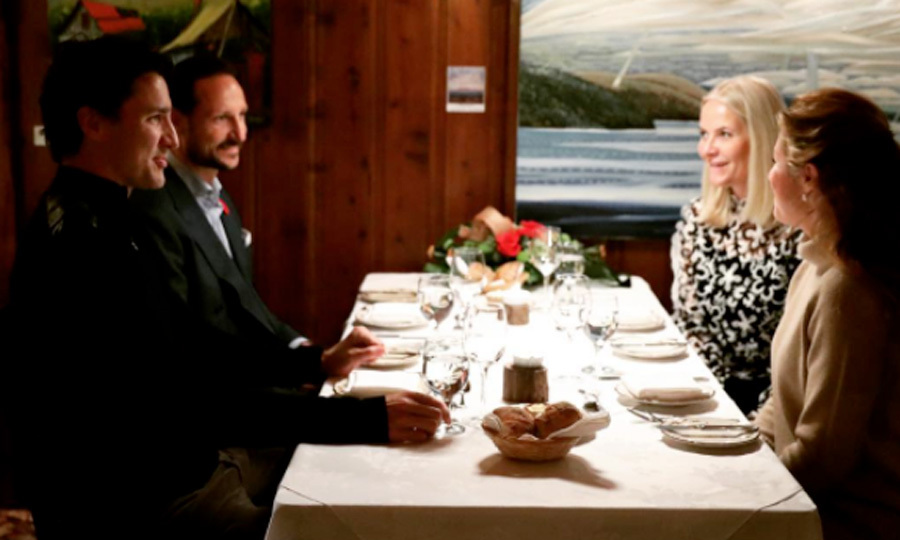 """Dinner with the Trudeaus."" Crown Prince Haakon and Crown Princess Mette-Marit of Norway kicked off their visit to Canada with a ""private dinner"" with Prime Minister Justin Trudeau and his wife Sophie. The royals are visiting the country to focus on the challenges in the Arctic and how innovative Norwegian companies can get into the Canadian market.