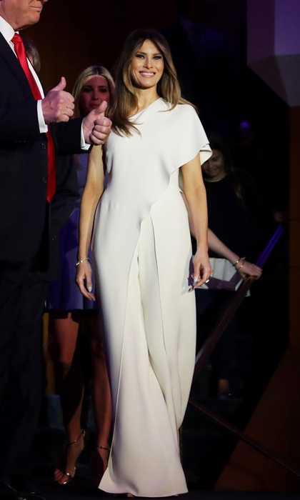 President-elect Donald Trump's wife made her grand debut as the country's future first lady on November 9 sporting a chic ensemble by all-American designer, Ralph Lauren. Melania exuded elegance donning a one-shoulder silk crepe jumpsuit by the designer. 