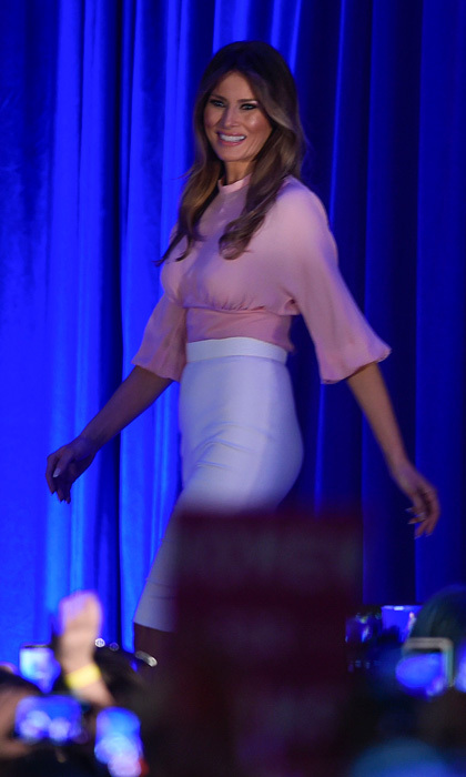 The Slovenian-born beauty showed off classy style during  a campaign event for her husband in November 2016 donning a pink blouse paired with an ivory high-waisted skirt. 