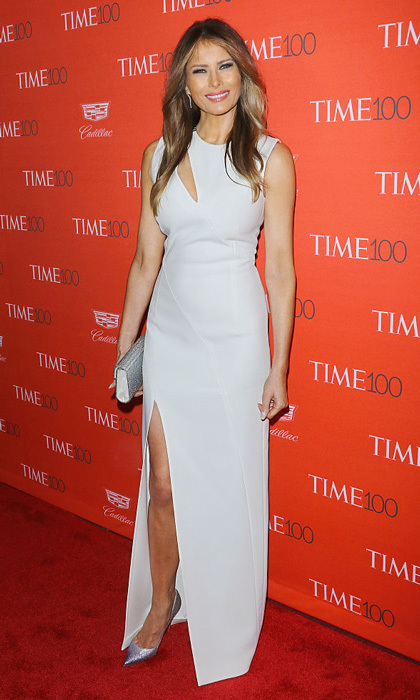 Melania showed off her toned limbs in a sexy cutout dress by Mugler at the 2016 Time 100 Gala.