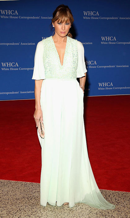 Ivanka Trump's stepmother stepped out in a flowing sea-foam dress for the 2015 annual White House Correspondents' Association Dinner in Washington, D.C. 