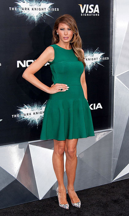 Melania attended the 2012 <i>Dark Knight Rises</i> world premiere in New York City wearing an emerald mini flare dress.