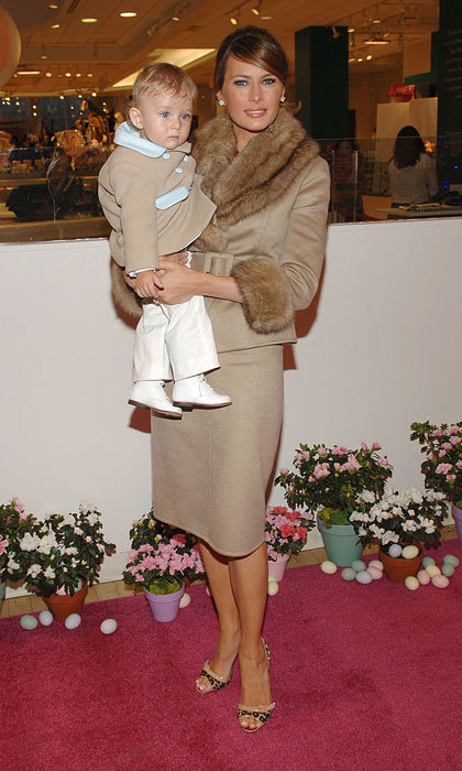 Like mother, like son! The Slovenian beauty coordinated her camel two-piece ensemble with her son Barron for a 2007 outing to FAO Schwartz.