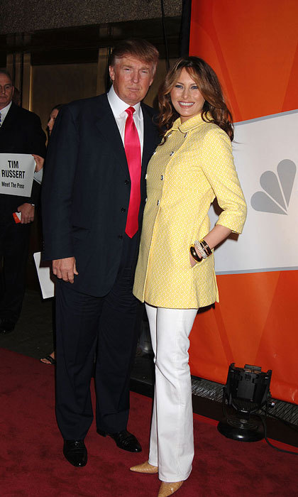 Melania looked sunny in 2006 donning a bright yellow coat and white trousers for the NBC Primetime Upfronts in New York City.
