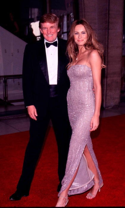 Long before becoming Mrs. Trump, Melania in a shimmering gown beside Donald at the 27th annual Fifi Fragrance Awards in 1999.
