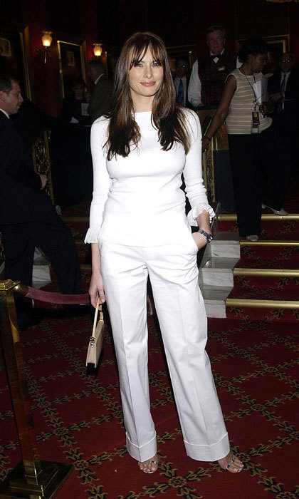 Melania kept it simple in a white blouse and trousers for the 2002 premiere of <i>Murder by Numbers</i> in New York City.