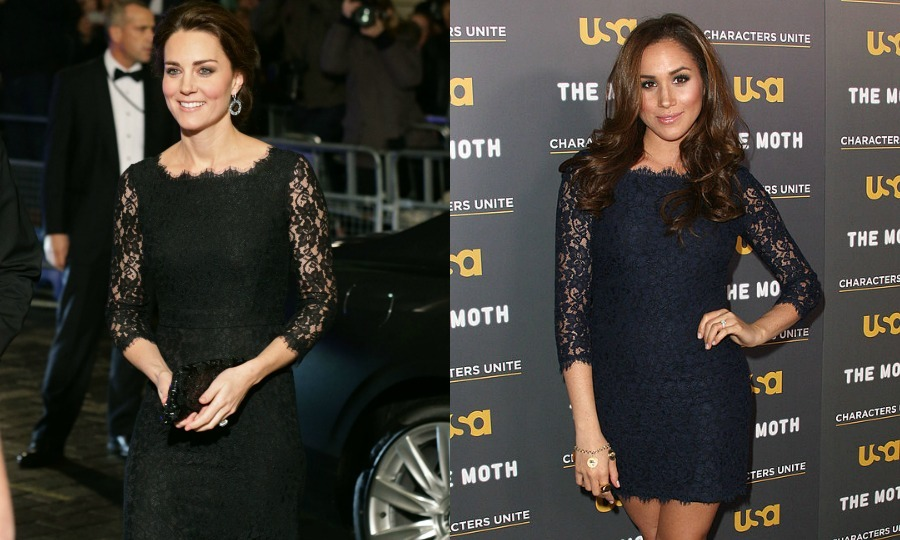 "Apart from being in relationships with British royals, the Duchess of Cambridge and actress Meghan Markle also share a similar sense of style. The two ladies both donned lacy Diane von Furstenberg dresses a few years apart. Prince Harry's American girlfriend donned a shorter navy version of the designer's ""Zarita"" dress to a 2012 USA Network event in Hollywood, while Prince William's wife opted for a full-length black gown version for the 2014  Royal Variety Performance in London.