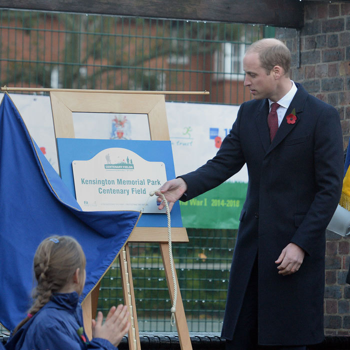 "Prince George's father unveiled a plaque at Kensington Memorial Park. ""[This] will honour the fallen of World War I by safeguarding, forever, memorial parks and gardens as public spaces to be valued and enjoyed by their local community,"" William said in a speech.