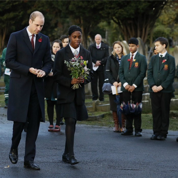 William walked with student Michaela McKay from the St. Michael's Youth project to lay flowers at the Willesden New Cemetery in London. The Prince admired the work of  Living Memory, which encourages communities to discover their local war graves and memorials. 