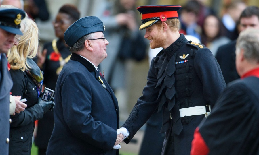 Harry shook the hand of a veteran during his visit to the Field of Remembrance. 