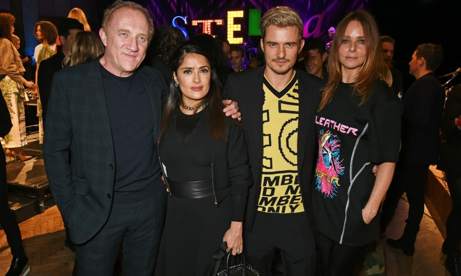 "November 10: Francois-Henri Pinault, Salma Hayek, <a href=""http://us.hellomagazine.com/tags/1/orlando-bloom/""><strong>Orlando Bloom</strong></a> and Stella McCartney posed for a photo during the designer's Menswear launch and Women's Spring 2017 collection presentation at Abbey Road Studios in London. 