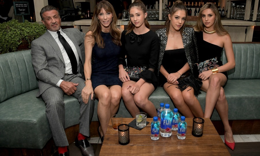 November 10: Sylvester Stallone and Jennifer Flavin posed with their daughters, and 2017 Miss Golden Globes, Scarlet, Sistine and Sophia during the Hollywood Foreign Press Association and InStyle' celebration of the upcoming awards season at Catch LA presented by Fiji Water. 