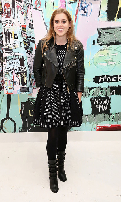 Princess Beatrice attended the launch party for the Alice + Olivia x Basquiat CFDA Capsule Collection in New York City sporting a fit-and-flare dress paired with a motorcycle leather jacket.  