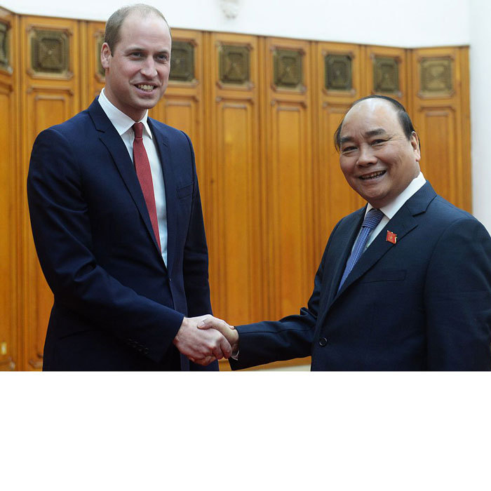 The Duke of Cambridge met with His Excellency Prime Minister Nguyen Xuan Phuc at the Prime Minister's residence. The pair discussed the strength of the relationship between the United Kingdom and Vietnam. William told the PM that he is looking forward to hearing about the efforts Vietnam is using to tackle the challenges presented by the illegal wildlife trade.