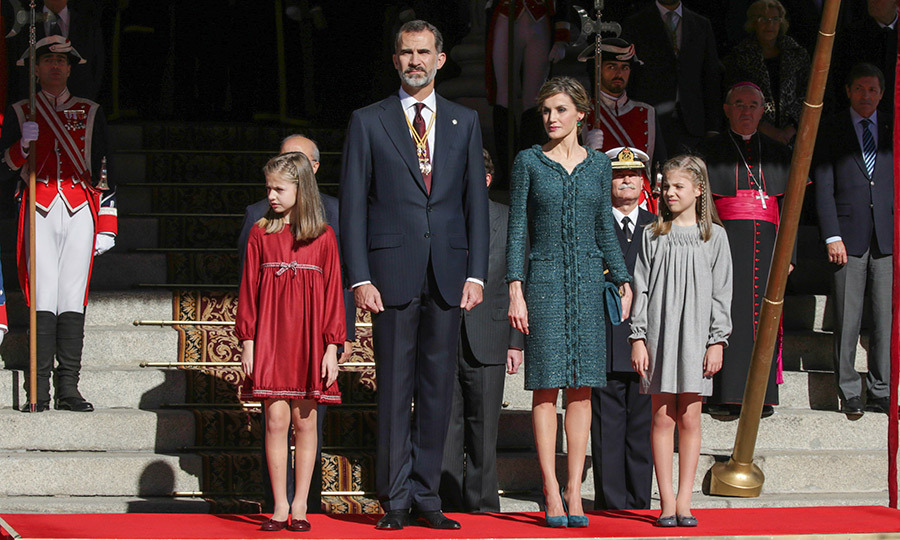 The Spanish Royals – King Felipe, Queen Letizia and their young daughters – proved that style runs in the family at the opening of Parliament in Madrid on November 17. 