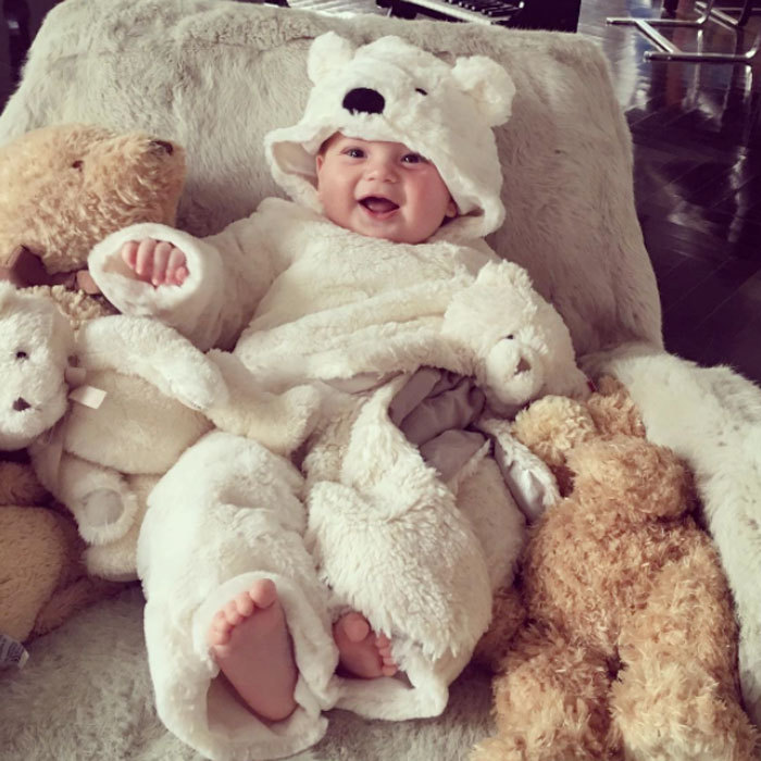 "Baby Theodore looked as cuddly as a teddy bear wrapped in a white hooded bear blanket. ""My teddy bear,"" Ivanka captioned the precious photo of her son surrounded by his stuffed animal friends.