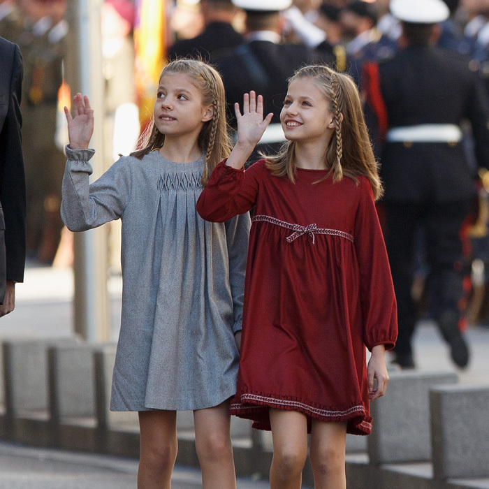 Princess Sofia and Princess Leonor were in sync as they stylishly arrived to the opening ceremony of the 12th Legislature at the Spanish Parliament in Madrid on November 17, 2016.