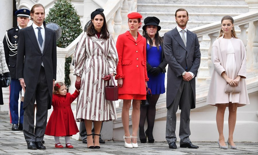 Pierre Casiraghi and wife Beatrice, far right, with (left to right) Andrea Casiraghi and wife Tatiana Santo Domingo – holding hands with daughter India – Charlotte Casiraghi and Princess Stephanie's daughter Camille Gottlieb, 18.