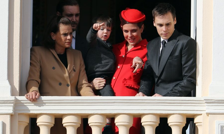 Charlotte Casiraghi pointed out the happenings below to son Raphaël, whose dad is the royal's ex-partner, actor Gad Elmaleh. Joining them on the balcony were Princess Stephanie, left, and her son Louis Ducruet, 23.