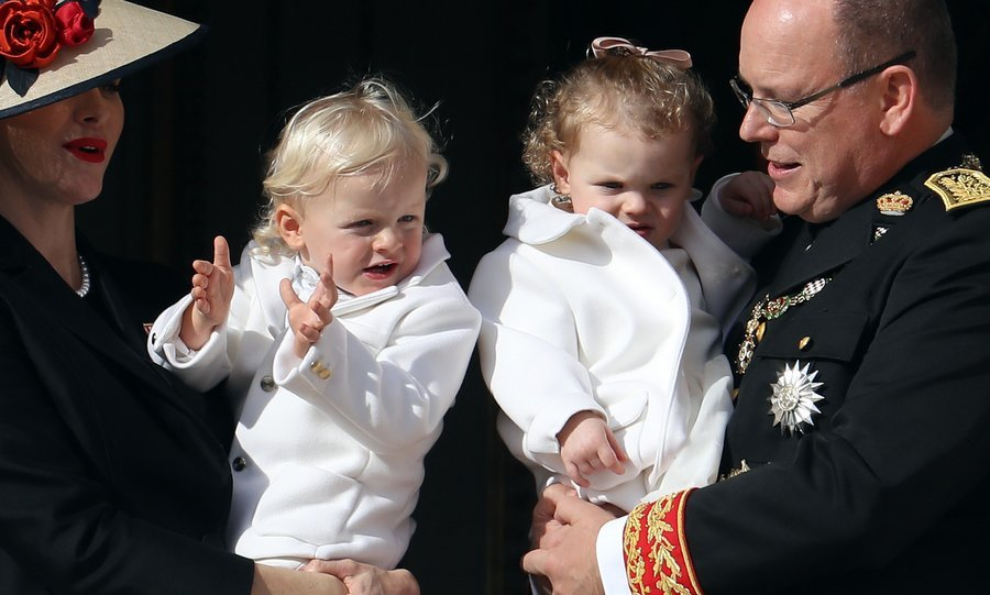 Twins Jacques and Gabriella, who turn 2 in December, looked sweet in their matching white outfits. The Princess' jacket is by Armani Junior.