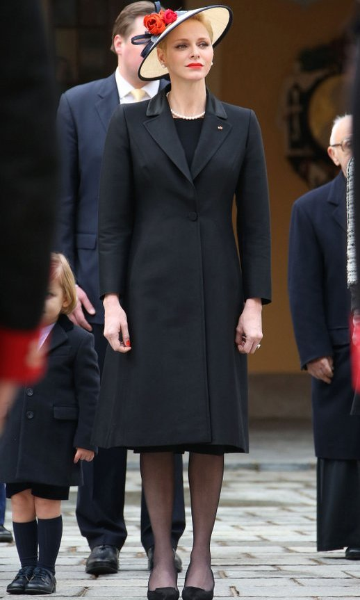Mom-of-two Princess Charlene kept her outfit simple, in classic black. 
