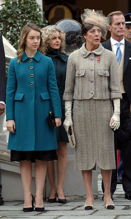 Princess Caroline, wearing Chanel, with 17-year-old daughter Princess Alexandra of Hanover for Monaco's National Day.